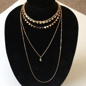 New Layered Geometric Gold Necklace
